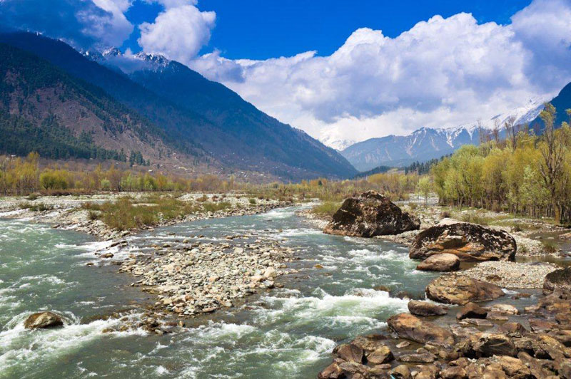 Lidder-River-flowing-through-Pahalgam-Valley-in-Pahalgam-,-Kashmir---India
